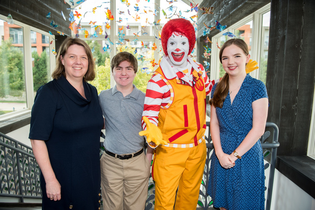 RMHD Family Kathleen Herman, Anthony Herman, Ronald McDonald, Abigail Herman