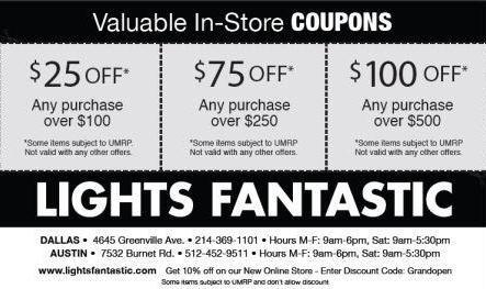 Fantastic Discounts Up to 100 Off Lights Fantastic Dallas TX