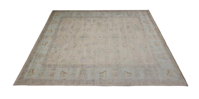 Transitional Oushak Style Rug from India, 12'02 X 15'03